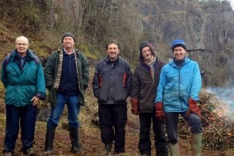 Clints Quarry Volunteers taking a break from clearing brush