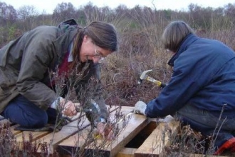 Foulshaw Moss volunteers building a boardwalk