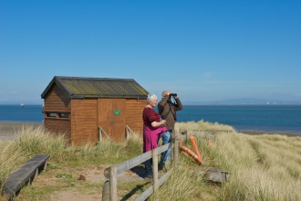 Image of bird watchers at South Walney Nature Reserve