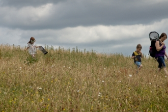 Visitors exploring the Eycott Hill meadows