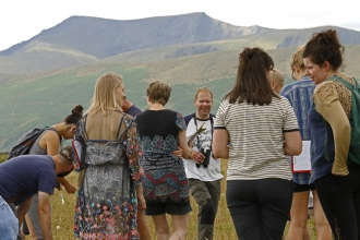 Group at Eycott Hill Bioblitz with Blencathra in the background