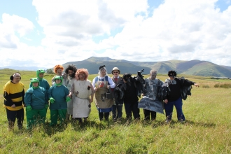 The Edington Centre drama group in costume at Eycott Hill