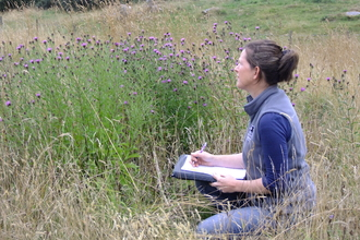 Christa Nelson on a meadow survey