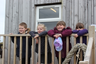 Image of children at visitor cabin at South Walney Nature Reserve