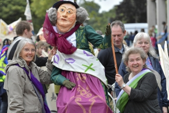 People holding a puppet at Carlisle Pageant 2018