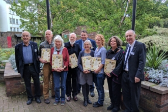 Badgers Paw recipients 2018 photographed outside Tullie House