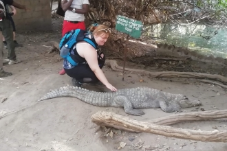 Jess Cowburn touches crocodile