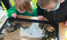 two Kids looking into a mobile rock pool tray at beached art event