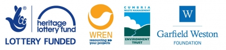 Eycott Hill all funder logos - heritage lotter fund - wren - garfield weston foundation - cumbria waste management environment trust