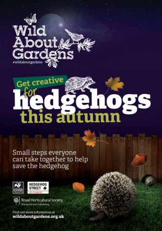 image of Help hedgehogs guide front cover - wild about gardens