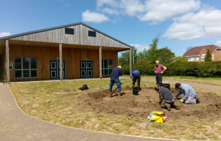 Image of volunteers working at community garden at Gosling Sike