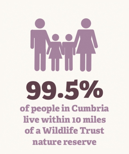 Infographic - percentage of people in cumbria live within 10 miles of a wildlife trust nature reserve