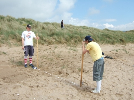 Image of students surveying for Dynamic Dunescapes, Oxwich, Wales © Dynamic Dunescapes